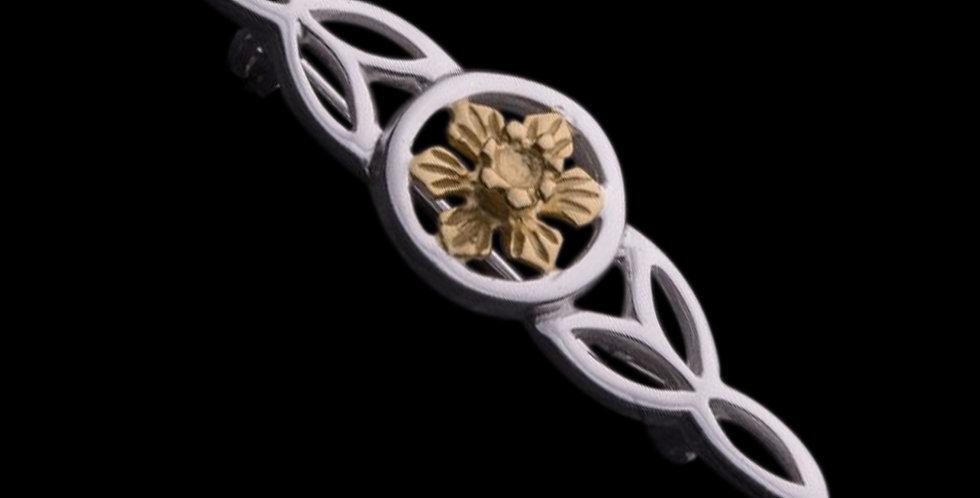Welsh Design Celtic Daffodil Brooch Stirling Silver LBRO090175-YG