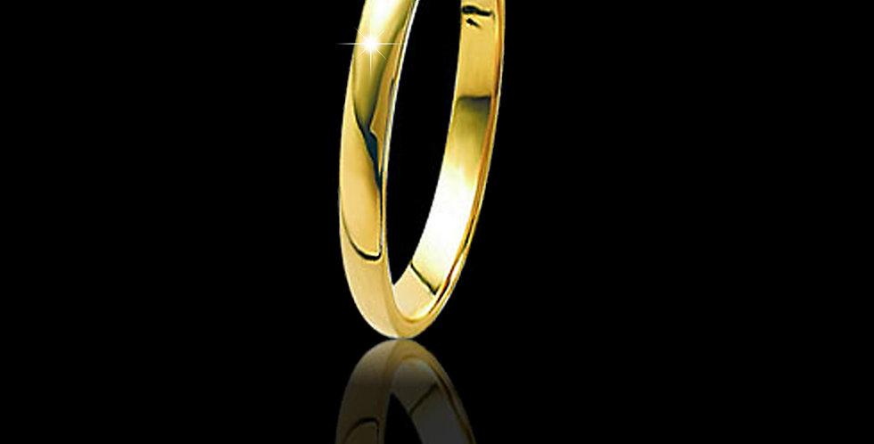Cymru Gold D Shape Yellow Welsh Gold Wedding Band 18ct WR518