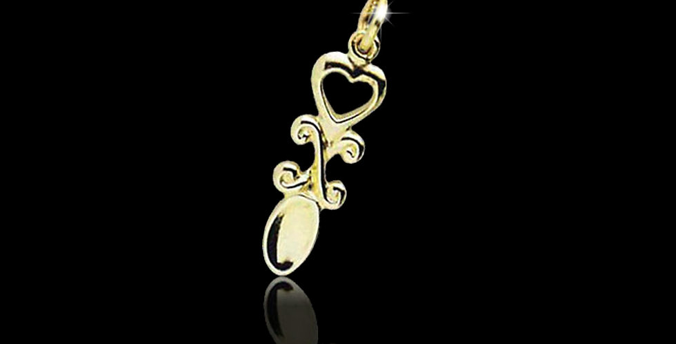Cumru Gold Welsh Gold Welsh Lovespoon Charm 9ct WCH60