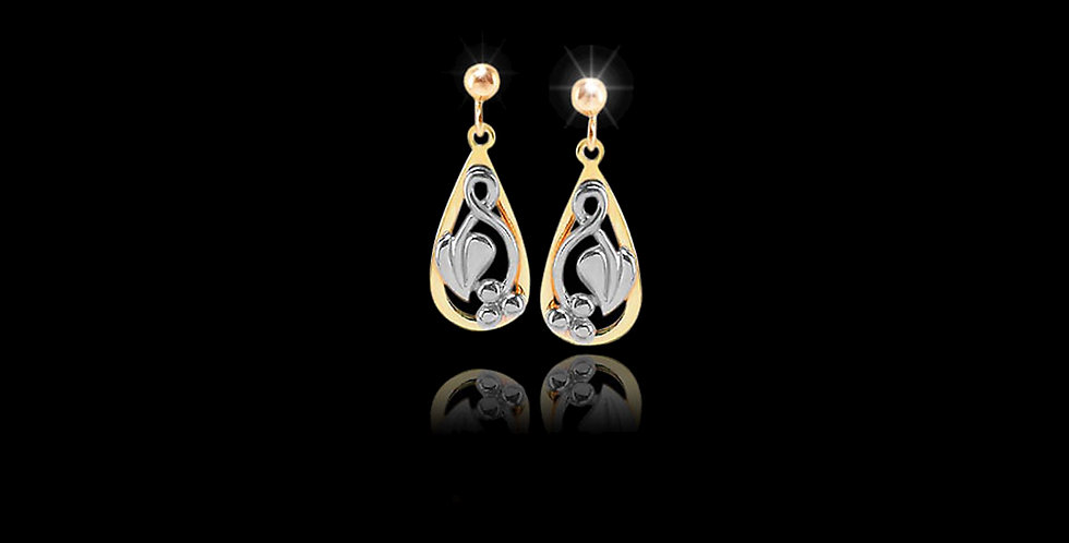 Cymru Gold Tree of Life Teardrop Earrings Yellow and White Gold 9ct WDS45