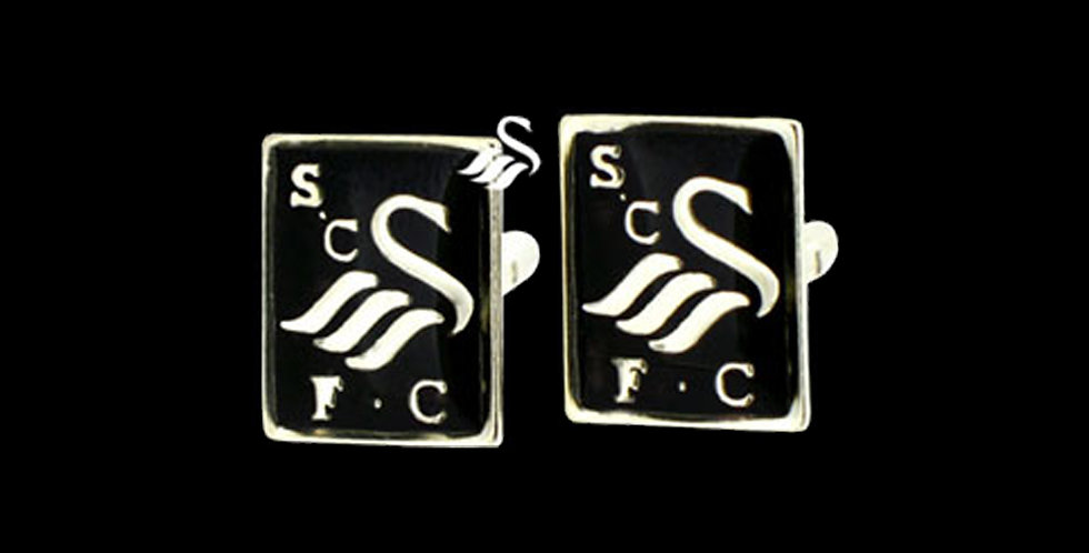 Swansea City AFC Silver Black Enamel Cufflinks