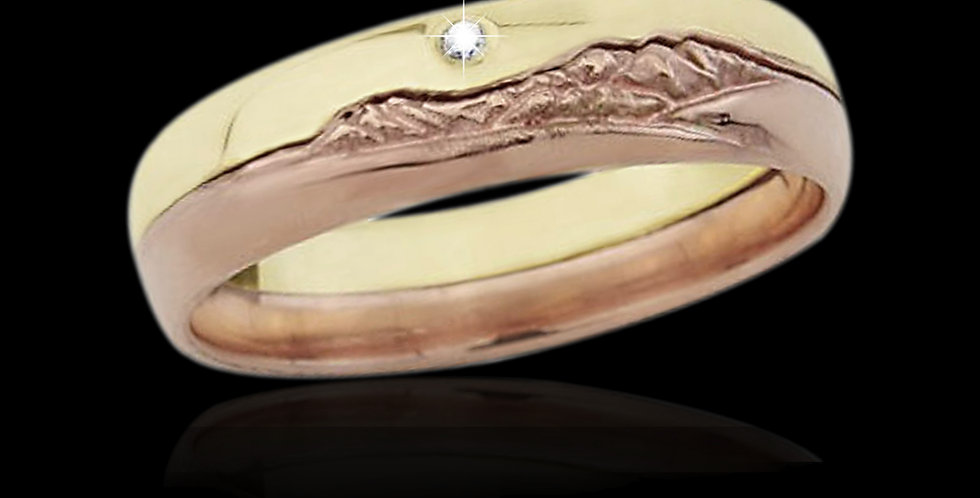 Cymru Gold 3D Snowdon Diamond Rose and Yellow Welsh Gold Ring