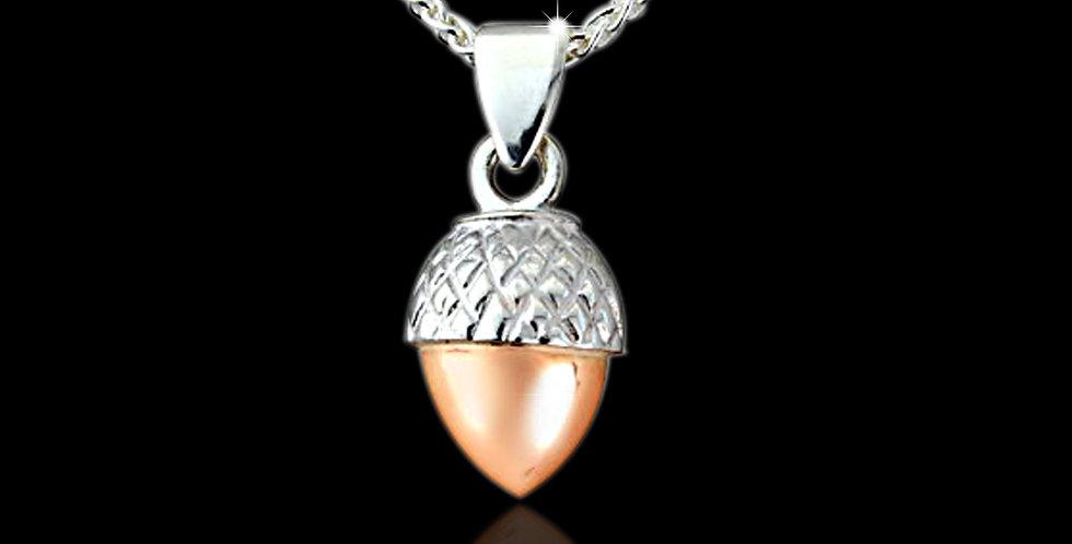 Cymru Gold Welsh Acorn Pendant Silver and Rose Gold SWP21