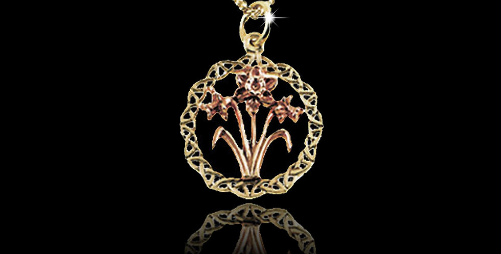 Celtic Ring Daffodil Pendant Rose and Yellow Gold 9ct WP14
