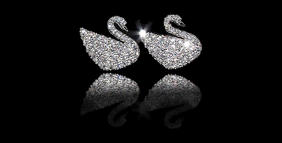 Swansea City AFC Silver Crystal Earrings
