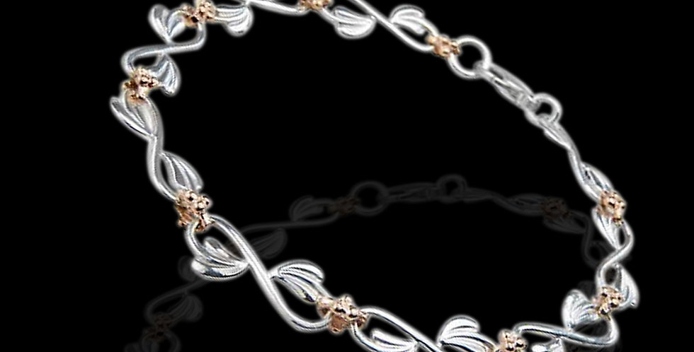 Cymru Gold Tree of Life Bracelet in Silver and Rose Gold SWB42