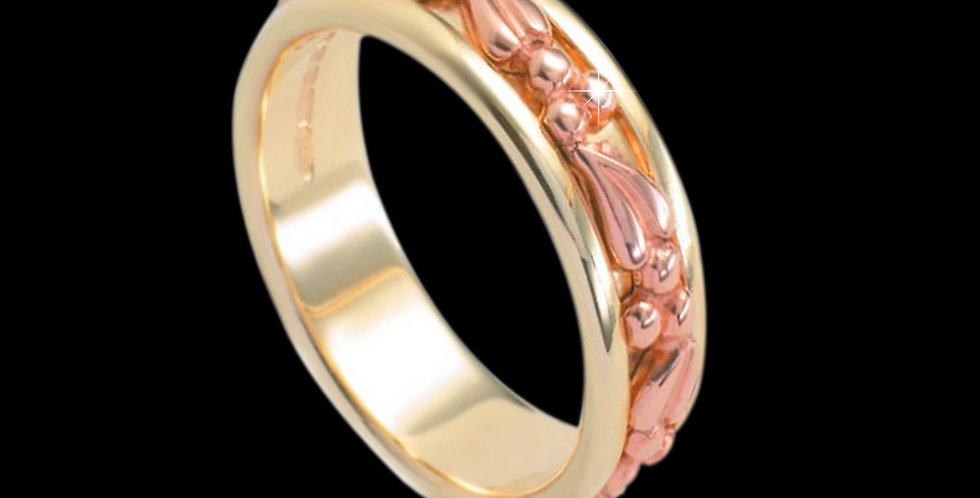 Tree of Life Inlaid Wedding Band Cymru Welsh Rose Gold and Yellow Gold 9ct WR126