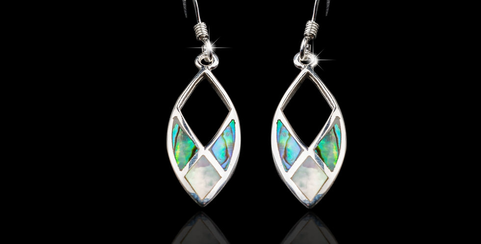 Welsh Design Abalone Drop Earrings Stirling Silver MX41