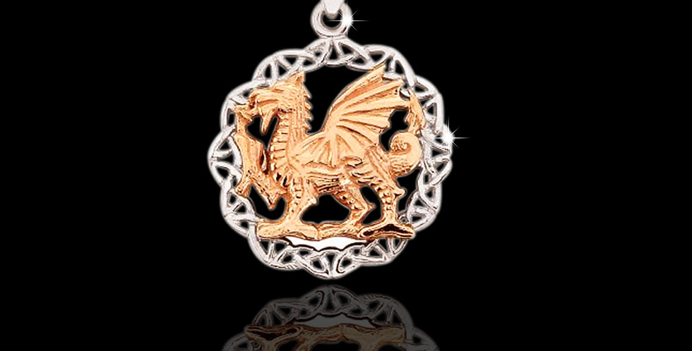 Celtic Welsh Dragon Pendant in Silver and Rose Gold SWP10