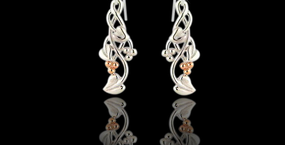 Cymru Gold Tree of Life Dropper Earrings in Silver and Rose Gold SWE24