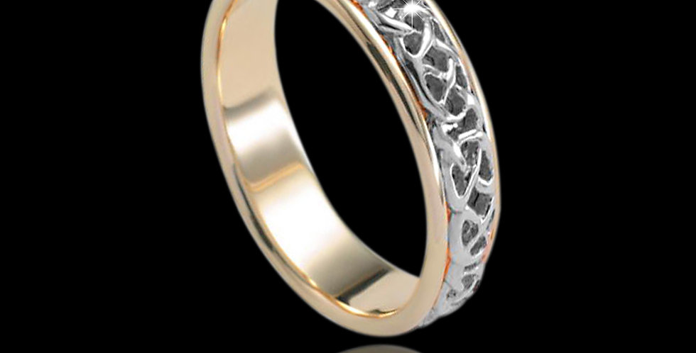 Cymru Gold Never-ending Knot Wedding Band White and Yellow Gold 9ct WR88
