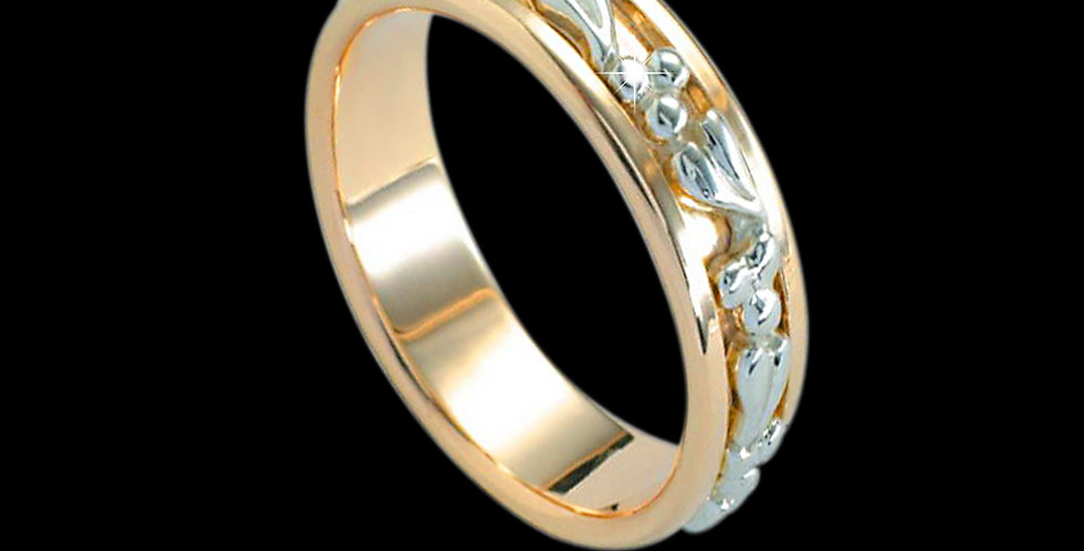Cymru Gold Tree of Life Inlaid Wedding Band White and Yellow Gold 9ct WR126W