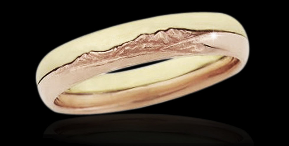 Cymru Gold 3D Snowdon Welsh Gold Ring in Rose and Yellow Gold 9ct