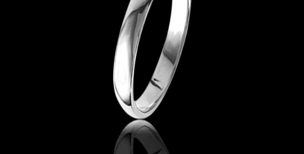 Cymru Gold D Shape White Welsh Gold Wedding Band 9ct WR2