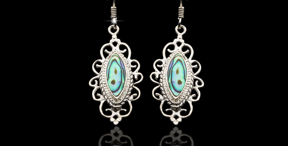 Welsh Design Abalone Drop Earrings Stirling Silver E042097