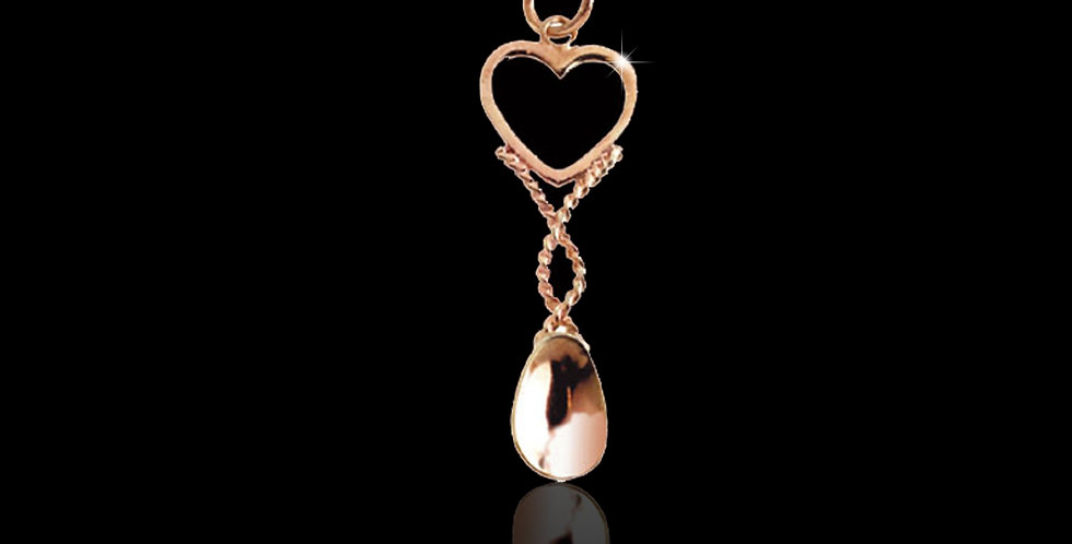 Cymru Gold Welsh Heart Lovespoon Pendant Rose Gold 9ct WD13
