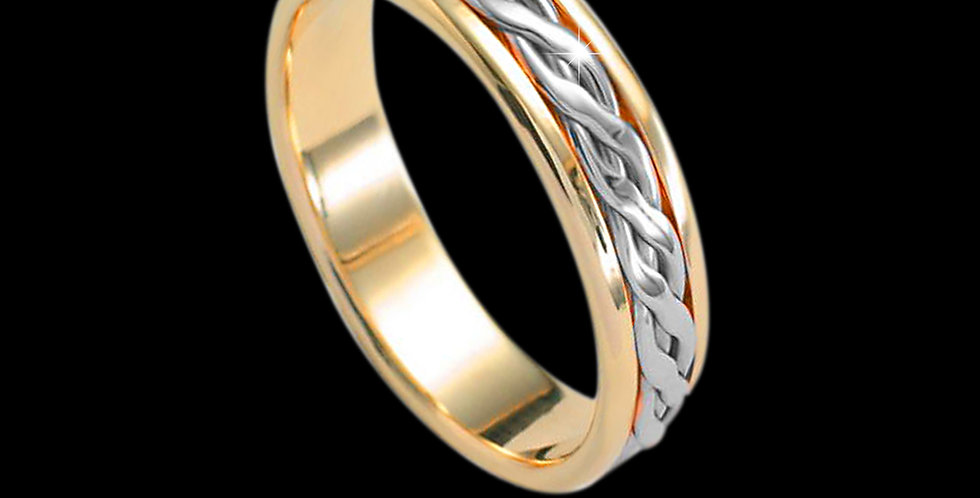 Cymru Gold Celtic Plait Inlaid Wedding Band White and Yellow Gold 9ct WR83