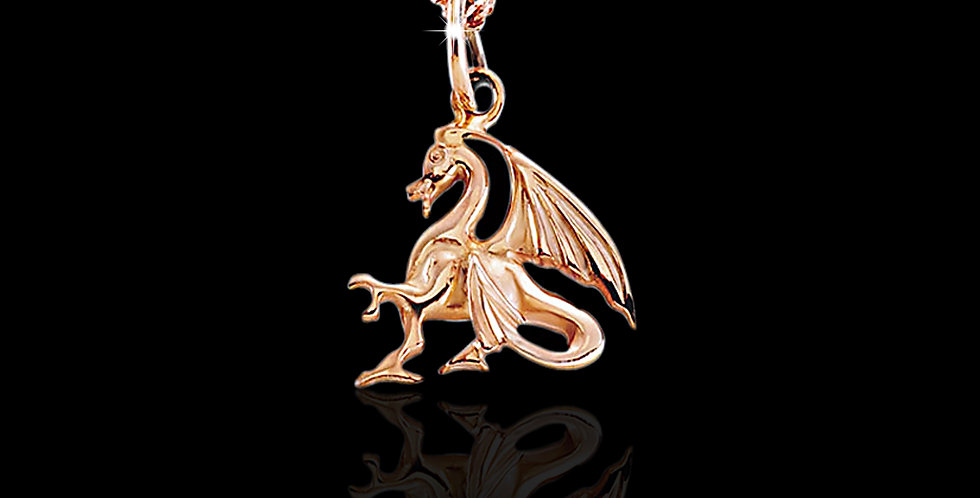 Welsh Dragon Pendant Rose Gold 9ct WP23