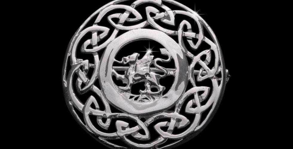Welsh Design Celtic Dragon Shield Brooch Stirling Silver LBRO050960