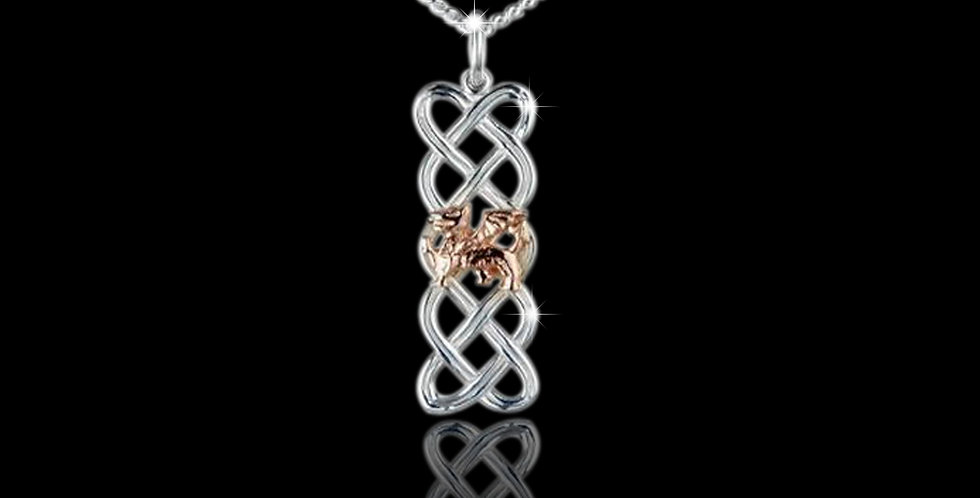 Celtic Panel Welsh Dragon Pendant in Silver and Rose Gold SWP101