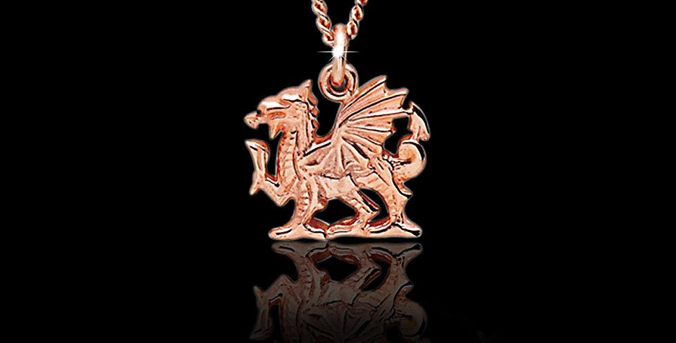 Cymru Welsh Rose Gold Dragon Pendant 9ct WP61