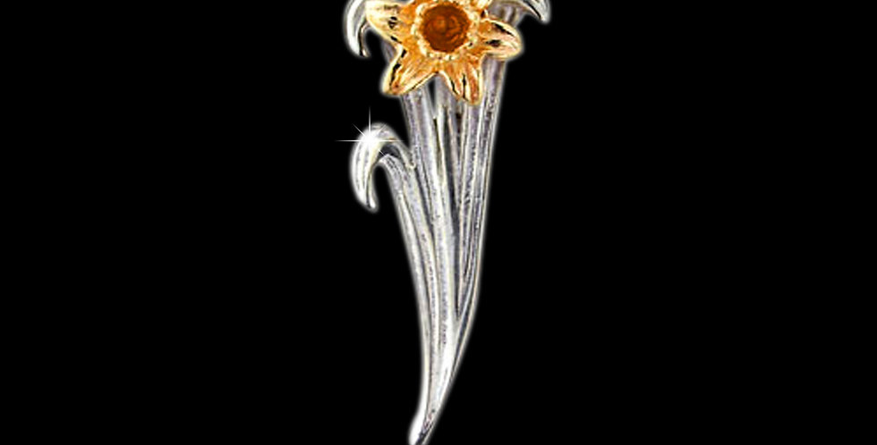Welsh Daffodil Pendant Silver and Yellow Gold SWP30