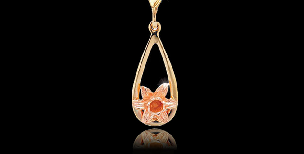 Daffodil Teardrop Pendant in Rose and Yellow Gold 9ct WDMP10