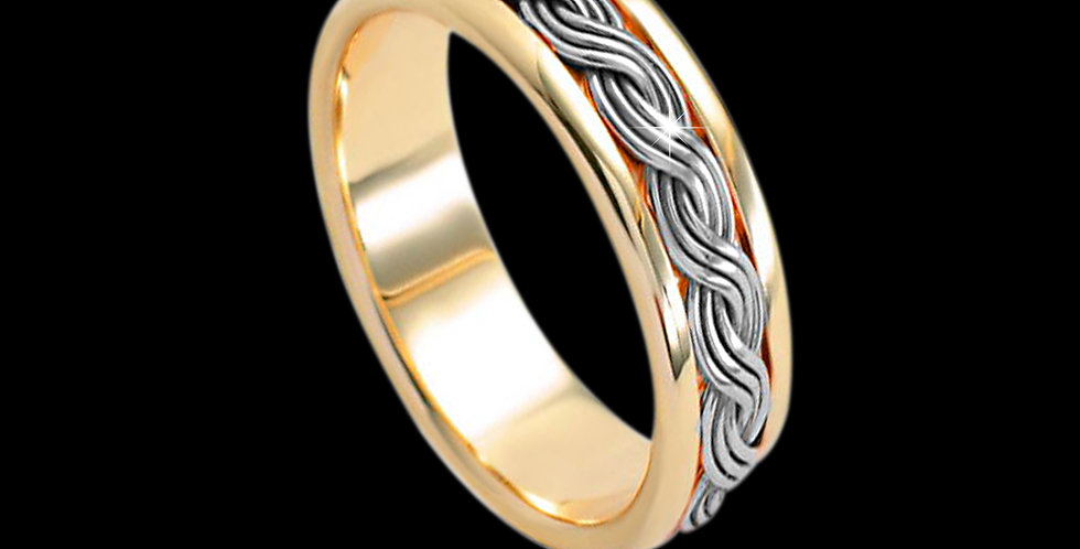Cymru Gold Woven Lives Inlaid Wedding Band White and Yellow Gold 9ct WR84
