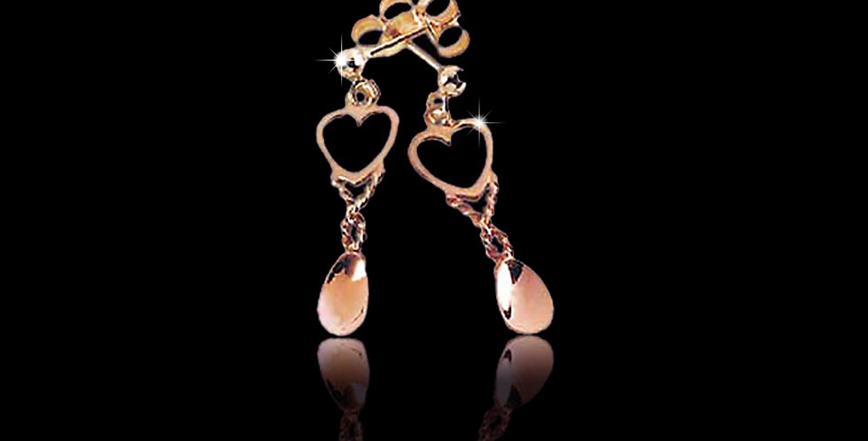 Cymru Gold Heart Lovespoon Earrings Rose Gold 9ct WD12