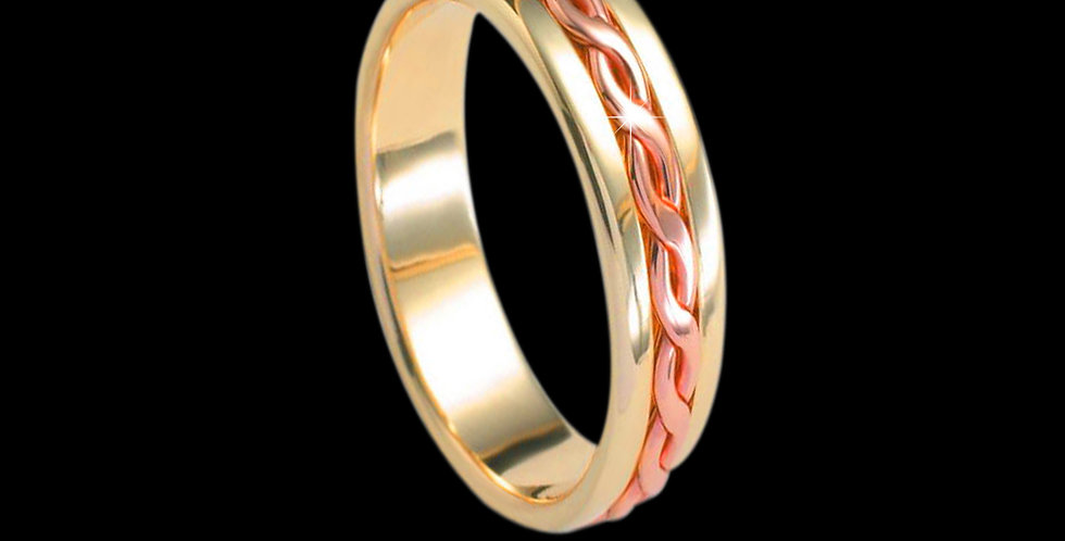 Entwined Lives Inlaid Wedding Band Cymru Welsh Rose and Yellow Gold 18ct WR1828