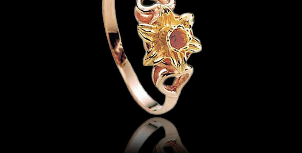 Cymru Gold Welsh Daffodil and Hearts Ring Rose and Yellow gold 9ct WD57