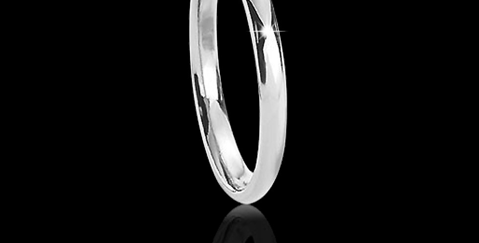Cymru Gold Court Shape White Welsh Gold Wedding Band 9ct W166