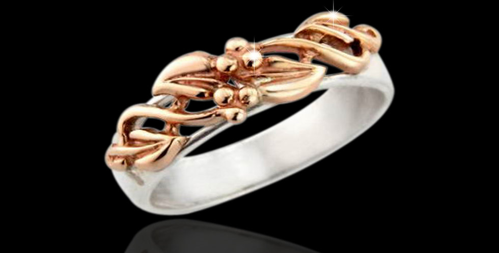Cymru Gold Tree of Life Celtic Ring Silver and Rose Gold SWR5