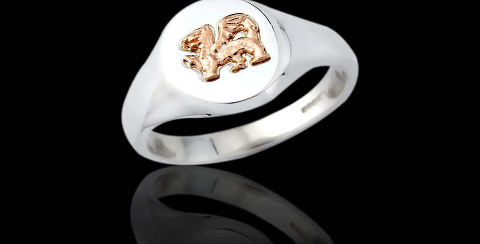Welsh Dragon Signet Ring in Silver and Rose gold SWR176