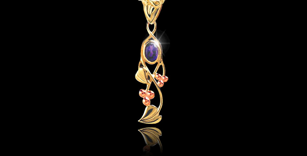 Cymru Gold Tree of Life Birthstone Pendant Yellow and Rose gold 9ct WP37