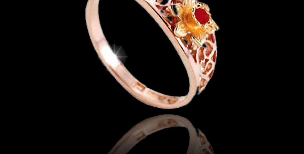 Cymru Gold Welsh Daffodil Filigree Ring in Rose and Yellow Gold 9ct WD5