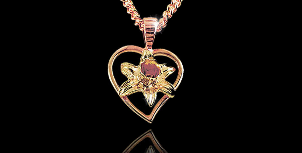 Welsh Heart and Daffodil Yellow and Rose Gold Pendant 9ct WD16