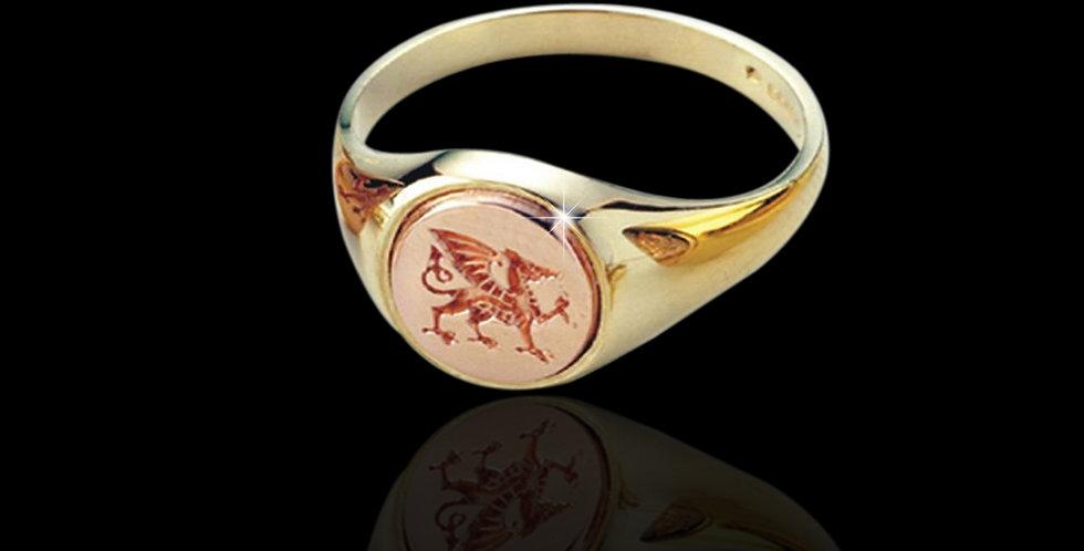 Ladies Cymru Gold Welsh Dragon Signet Ring Rose and Yellow Gold 9ct WD63