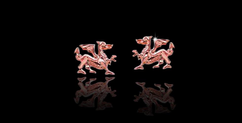 Cymru Gold Welsh Dragon Earrings Rose Gold 9ct WE28