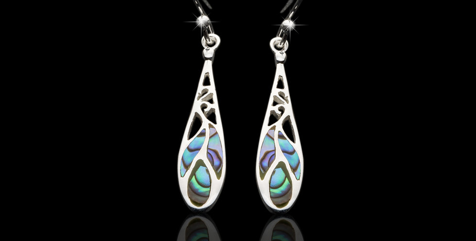 Welsh Design Abalone Drop Earrings Stirling Silver E110018