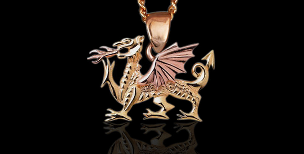 Fiery Welsh Dragon in Rose and Yellow Gold 9ct WP57