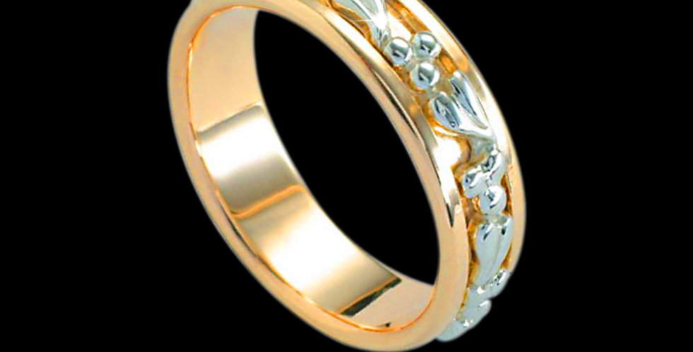 Tree of Life Inlaid Wedding Band White and Yellow Gold 18ct WR268