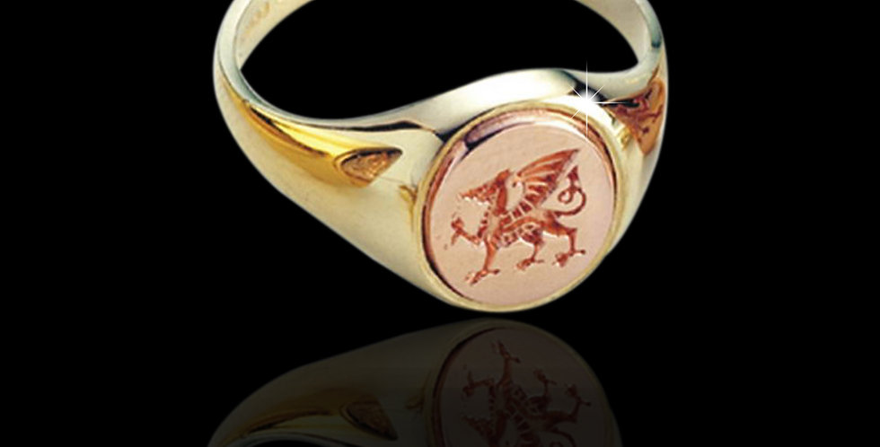 Gents Cymru Gold Welsh Dragon Signet Ring Rose and Yellow Gold 9ct WD58