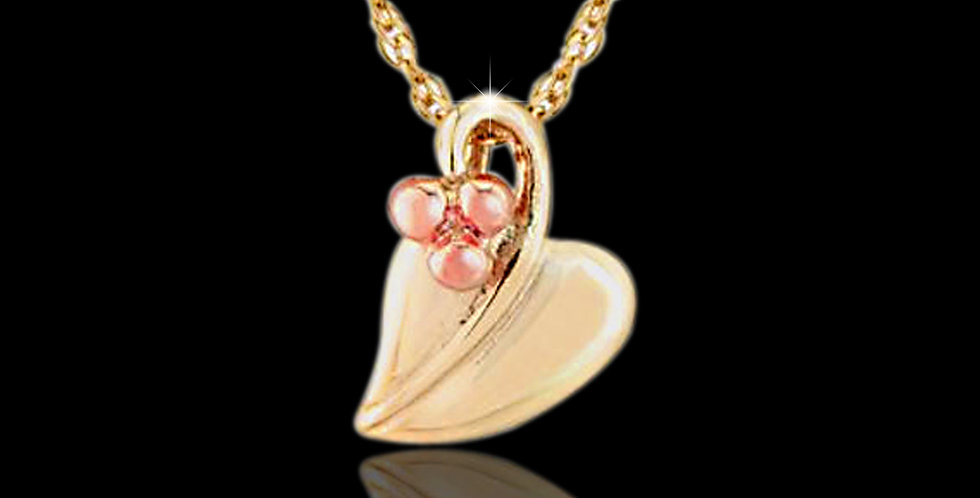 Cymru Gold Tree of Life Leaf & Berry Pendant Yellow and Rose Gold 9ct WP32