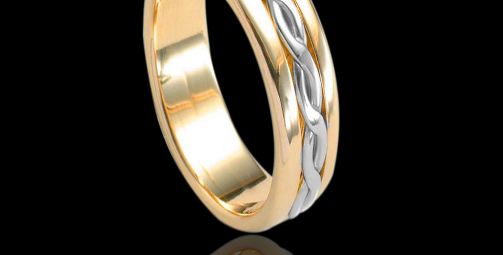 Cymru Gold Entwined Lives Inlaid Wedding Band White and Yellow Gold 9ct WR82
