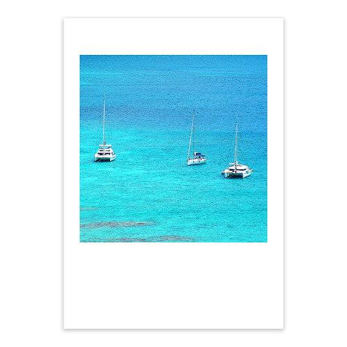 Caribbean Boats, A3 Giclée Print
