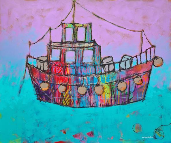 Rainbow Boat 60cm x 50cm Acrylic on board £900
