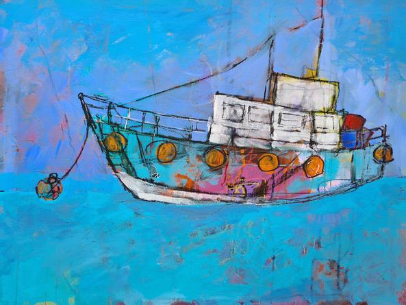 Dreamscape Boat 50cm x 40cm Acrylic on board £700
