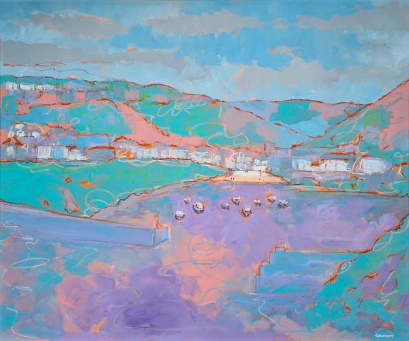 Port Issac in Pastel 60cm x 50cm Acrylic on board £900