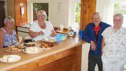Jean & Cathie repelling boarders from the kitchen